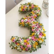 Figures made from flowers