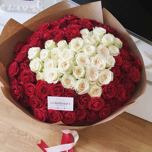 101 roses in the shape of heart