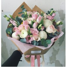 Bouquet with pink tulips and white chrysanthemums