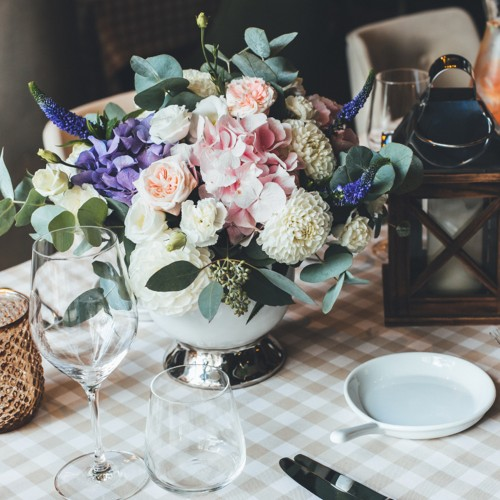 Amazing set of blue hydrangea and veronica for a festive table