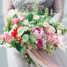 Bridal bouquet with white lilac and pink peonies