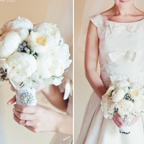 Bridal bouquet with white peonies and silver brunia