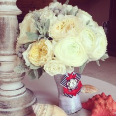 Bridal Bouquet made in a marine style with white David Austin roses